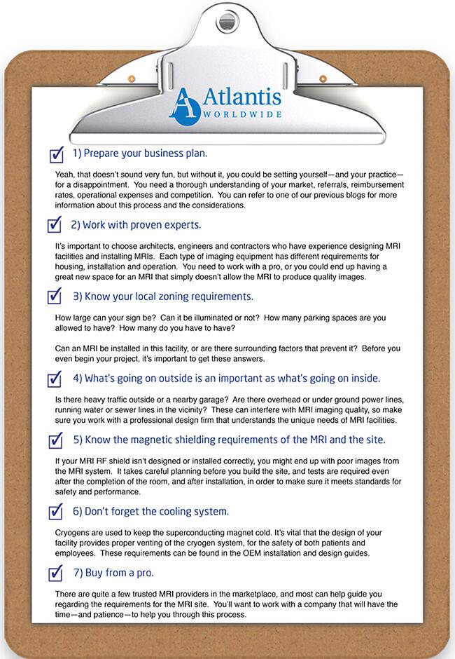 MRI Installation Checklist